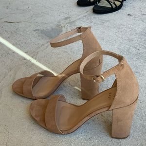"3.5"" heel Taupe one strap heel"